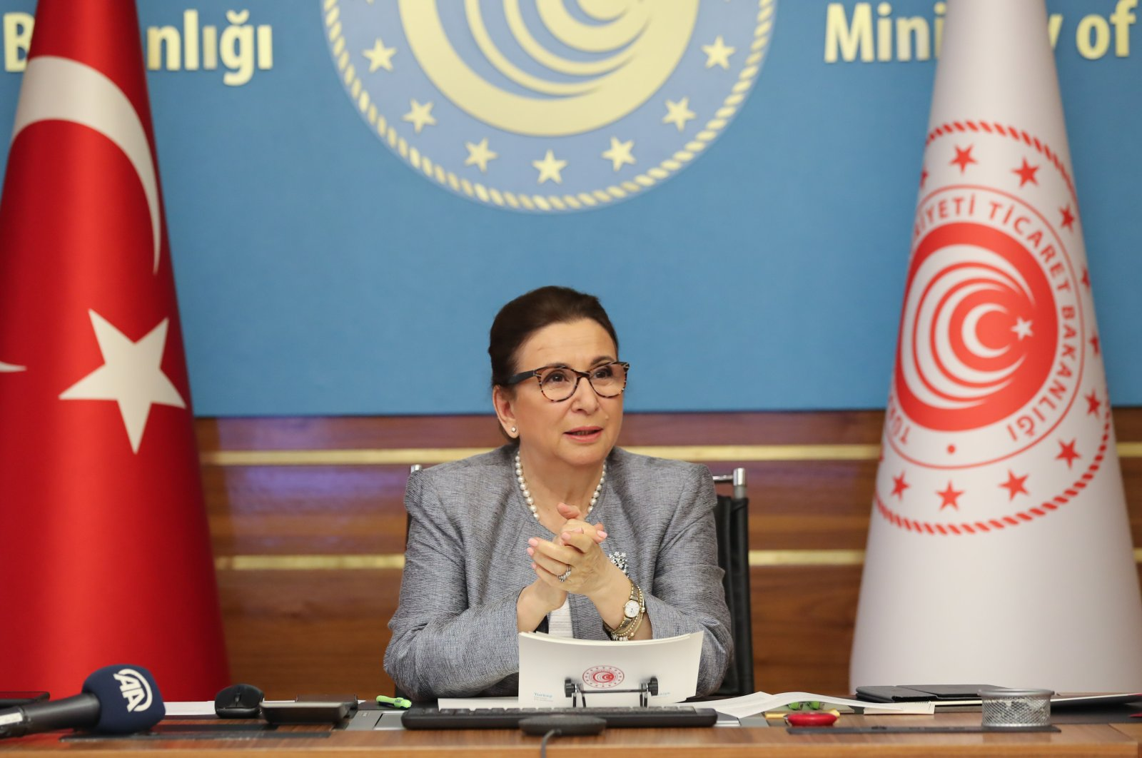 Trade Minister Ruhsar Pekcan in a conference, May 21, 2020 (AA Photo)
