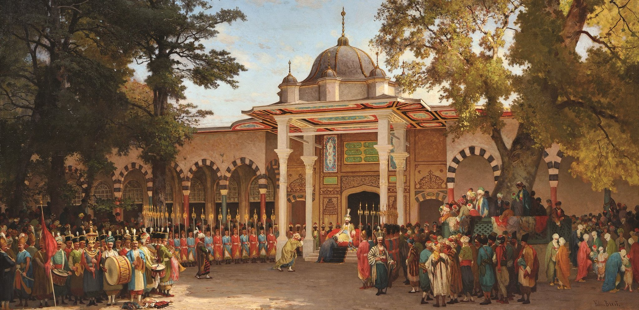 """Germain Fabius Brest depicts a reception held in front of the Gate of Felicity in the second courtyard of the Topkapı Palace in his 1865-dated """"Bayram Greetings Reception.'"""