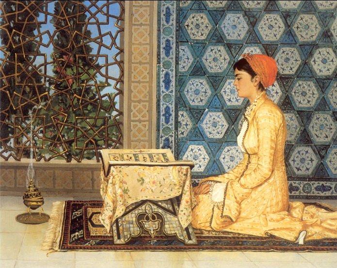 "Pioneering Ottoman artist Osman Hamdi Bey's ""Girl Reciting Quran."""