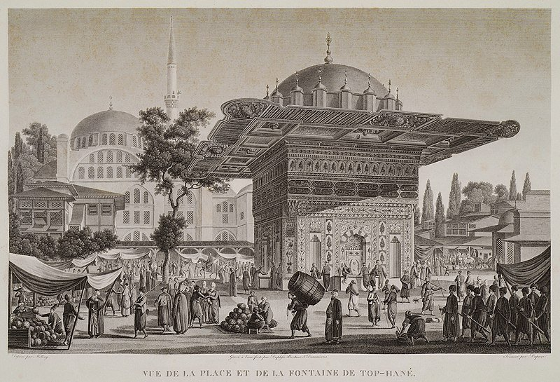 Melling Antoine Ignace's painting captures the Fountain of Tophane and its circle.