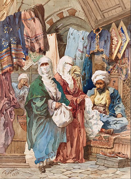 "Maltese painter Amedeo Preziosi depicts two ladies shopping in his painting ""Shoppers at Silk Bazaar."""
