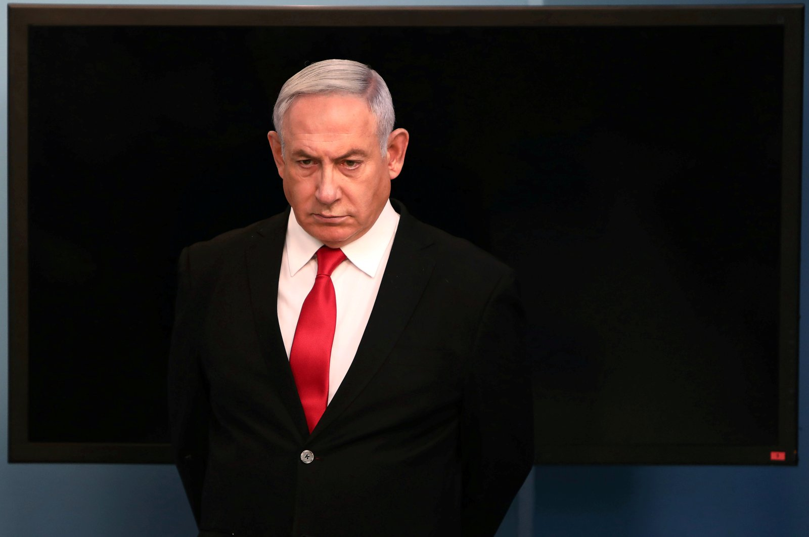 Israeli Prime Minister Benjamin Netanyahu arrives for a speech at his Jerusalem office, March 14, 2020. (REUTERS Photo)