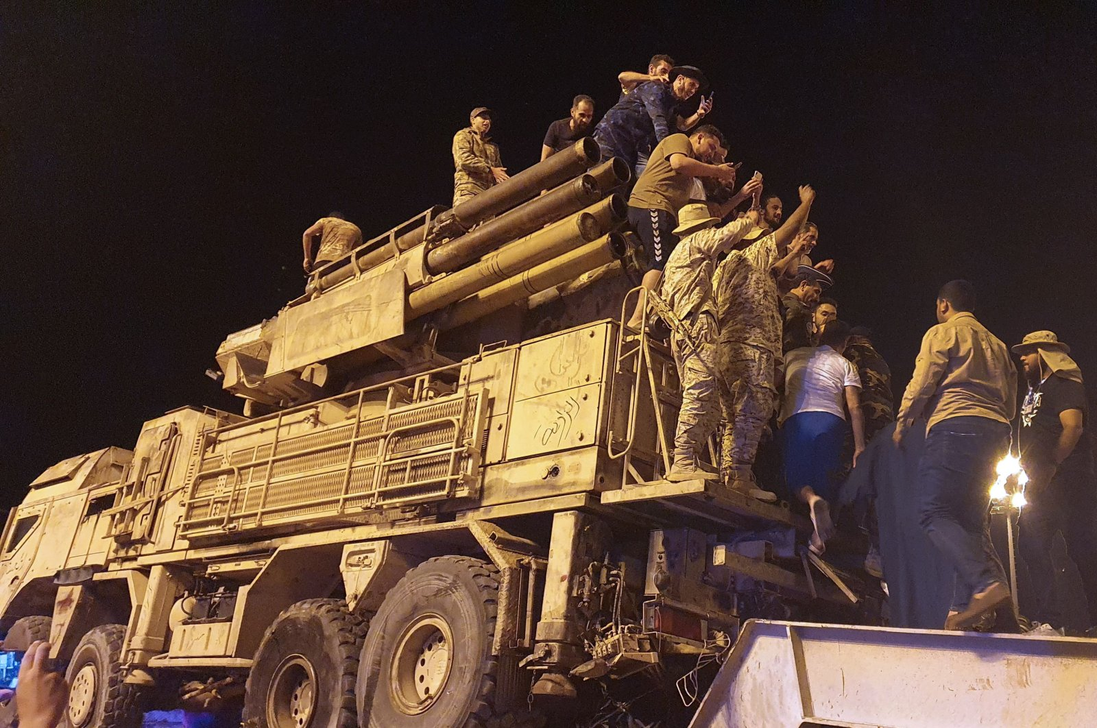 Forces loyal to Libya's UN-recognised Government of National Accord (GNA) parade on a Pantsir air defense system truck in the capital Tripoli, May 20, 2020,. (AFP)