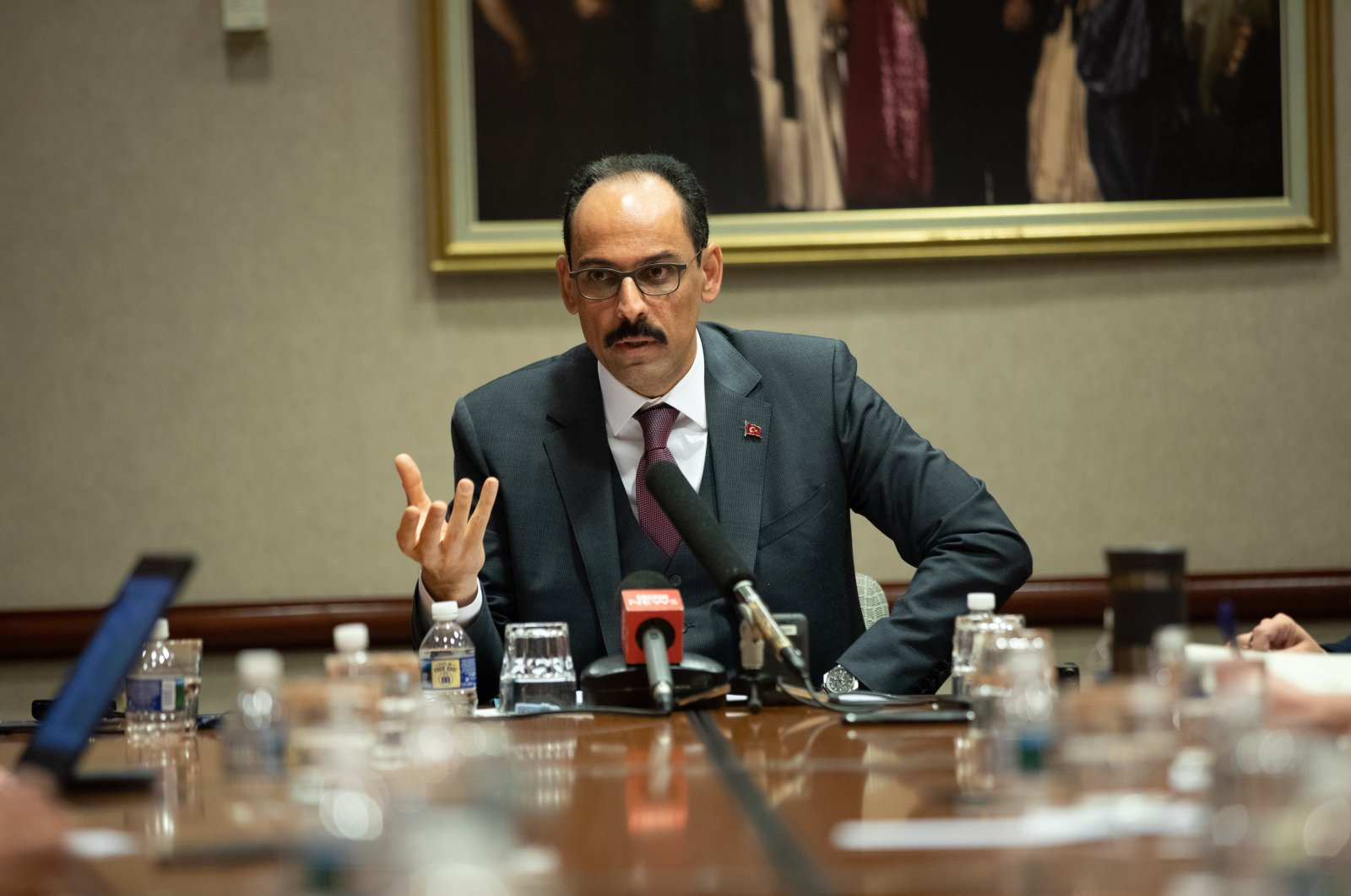 Presidential Spokesperson İbrahim Kalın speaks to journalists after the 37th joint annual conference of the American-Turkish Council (ATC) in Washington, D.C., U.S., April 18, 2019. (AA Photo)