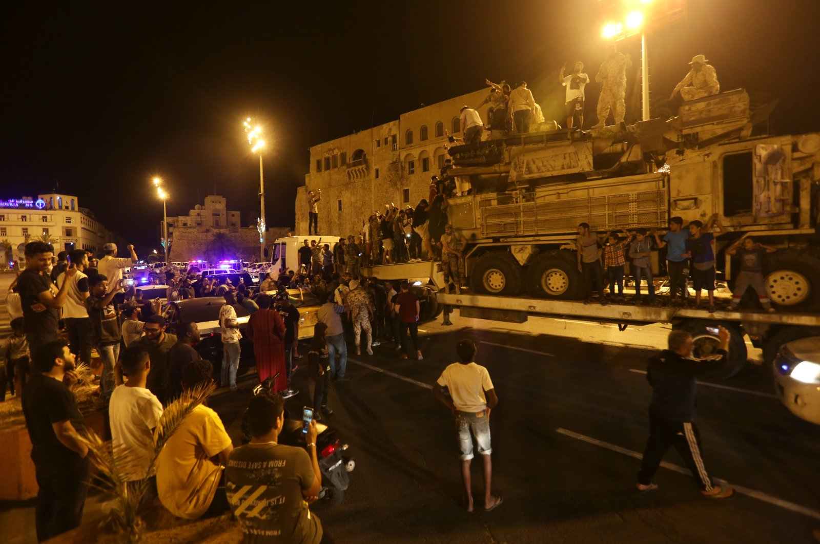 Forces loyal to Libya's UN-recognised Government of National Accord (GNA) parade a Pantsir air defense system truck in the capital Tripoli, May 20, 2020. (AA)