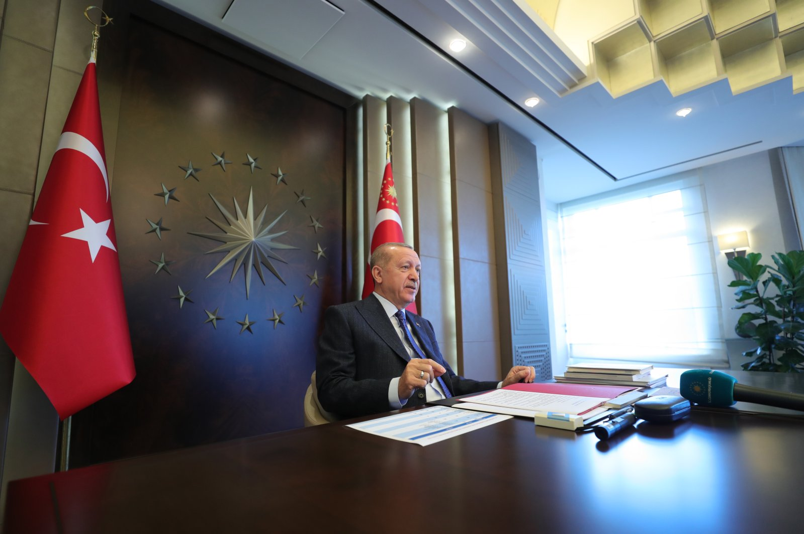 President Recep Tayyip Erdoğan holds a videoconference meeting with the ruling Justice and Development Party's (AK Party) provincial heads, May 22, 2020. (AA Photo)