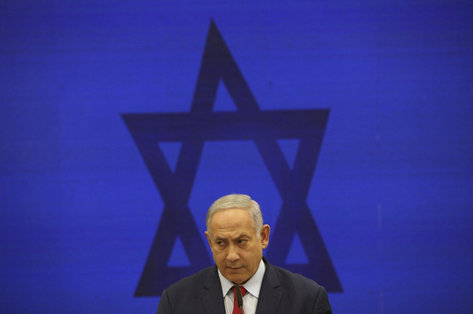 Israeli Prime Minister Benjamin Netanyahu speaks during a news conference, Tel Aviv, Israel, Sept. 10, 2019. (AP Photo)