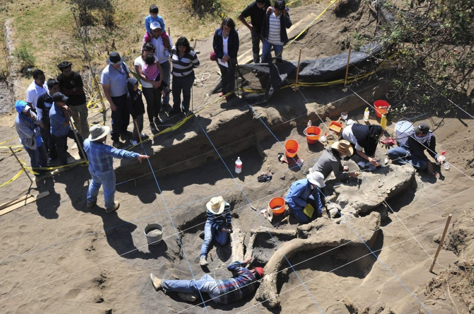 Archaeologists from Mexico's National Institute of Anthropology and History (INAH), work at the excavation of the buried remains of a Columbian mammoth in this handout photograph taken on April 4, 2013. (Reuters Photo)