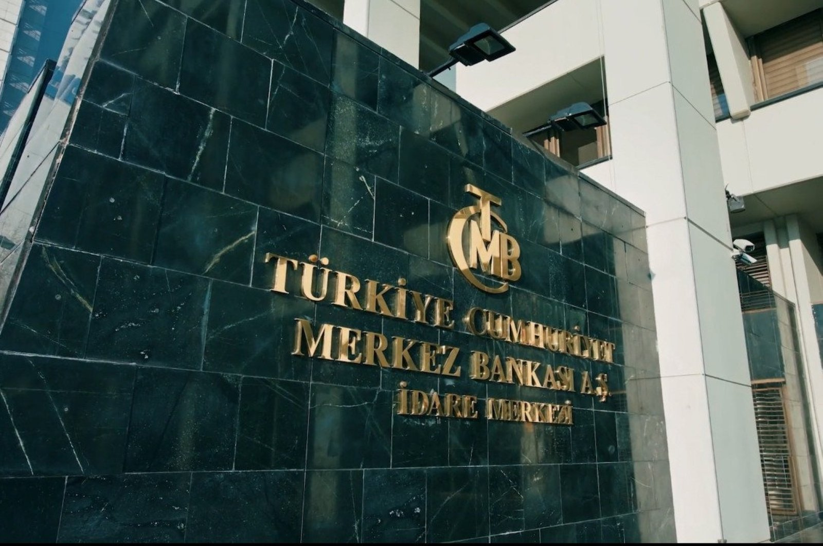 This undated photo shows the sign of Central Bank outside its headquarters in Ankara, Turkey. (İHA Photo)