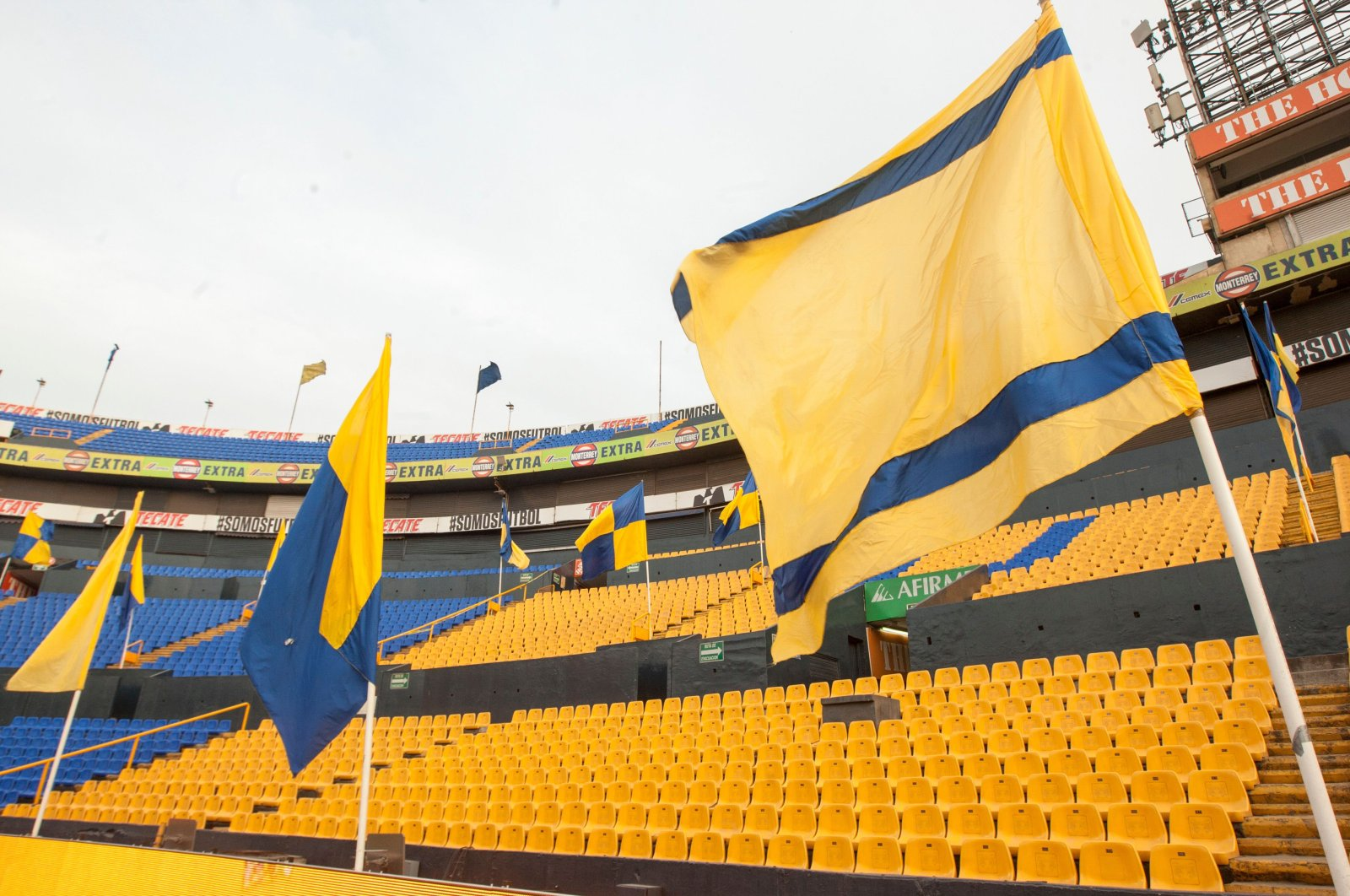 View of the empty stands during the Mexican Clausura 2020 tournament football match between Tigres and Bravos de Juarez, at Universitario stadium, in Monterrey, Mexico, March 14, 2020. (AFP Photo)