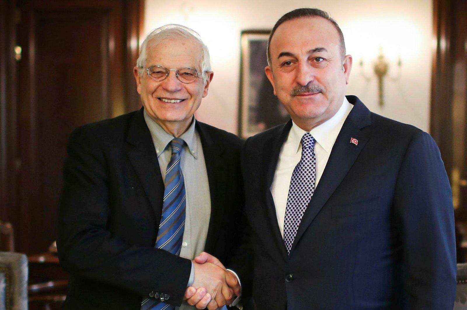 European Union Minister for Foreign Affairs Josep Borrell (L) and Turkey's Foreign Minister Mevlüt Çavuşoğlu in an undated photo. (AA Photo)