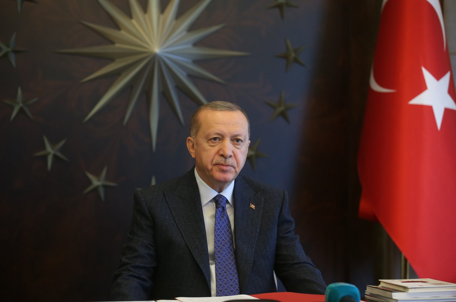 President Recep Tayyip Erdoğan during a videoconference in the Presidential Complex, Ankara, May 22, 2020. (DHA Photo)