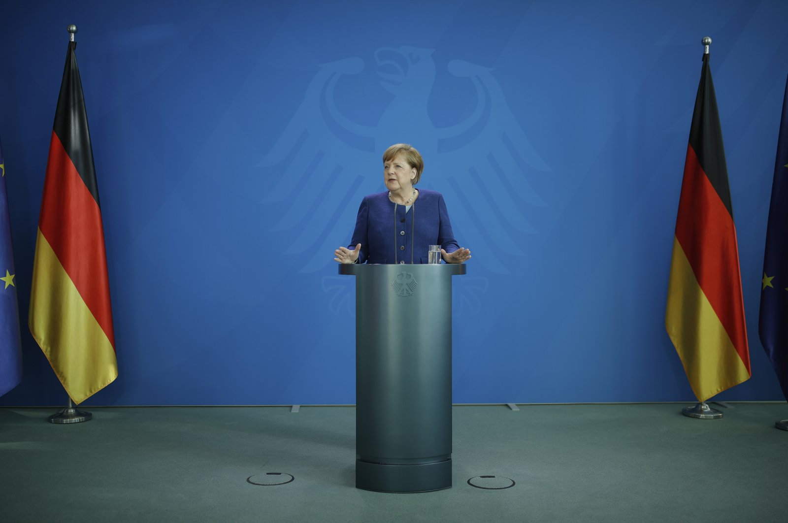 German Chancellor Angela Merkel addresses a press conference following a meeting with international economic and financial organizations on the effects of the coronavirus pandemic, at the Chancellery, Berlin, Germany, May 20, 2020. (AP Photo)