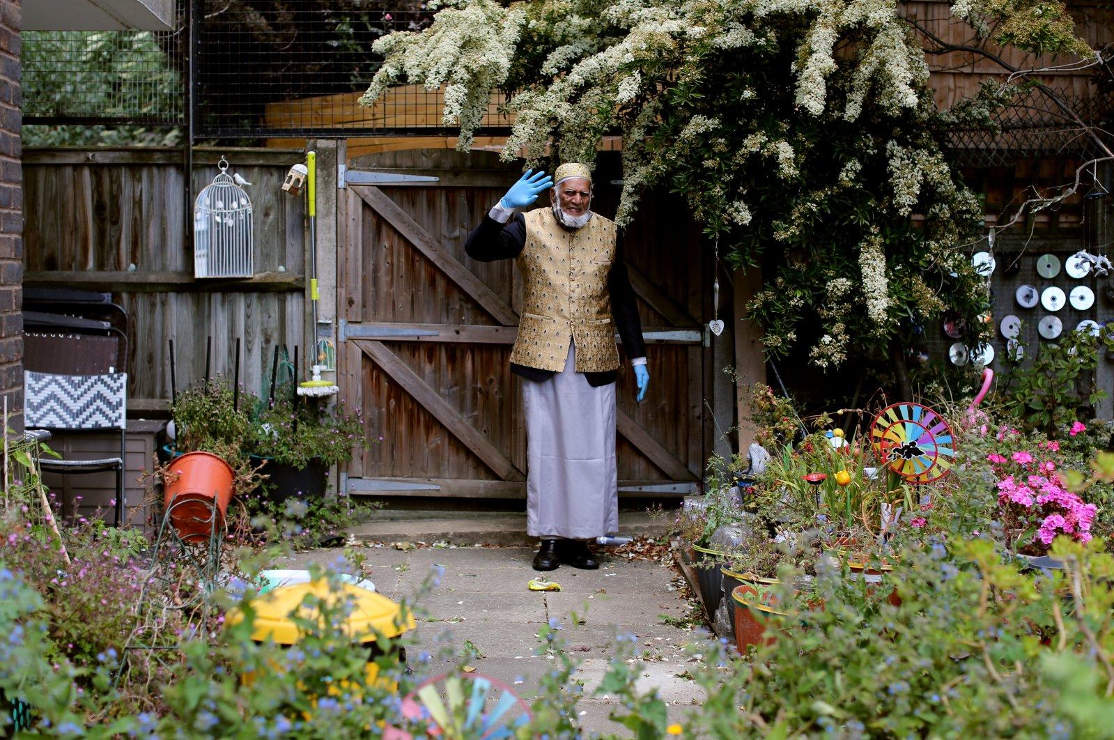 Dabirul Islam Choudhury poses in his 80-meter garden in London, May 23, 2020. (AA Photo)