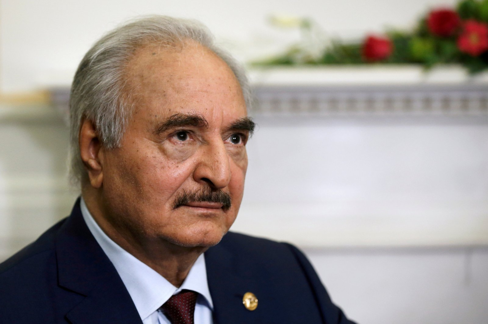 Renegade Gen. Khalifa Haftar meets Greek Foreign Minister Nikos Dendias (not pictured) at the Foreign Ministry in Athens, Greece, Jan. 17, 2020. (Reuters Photo)