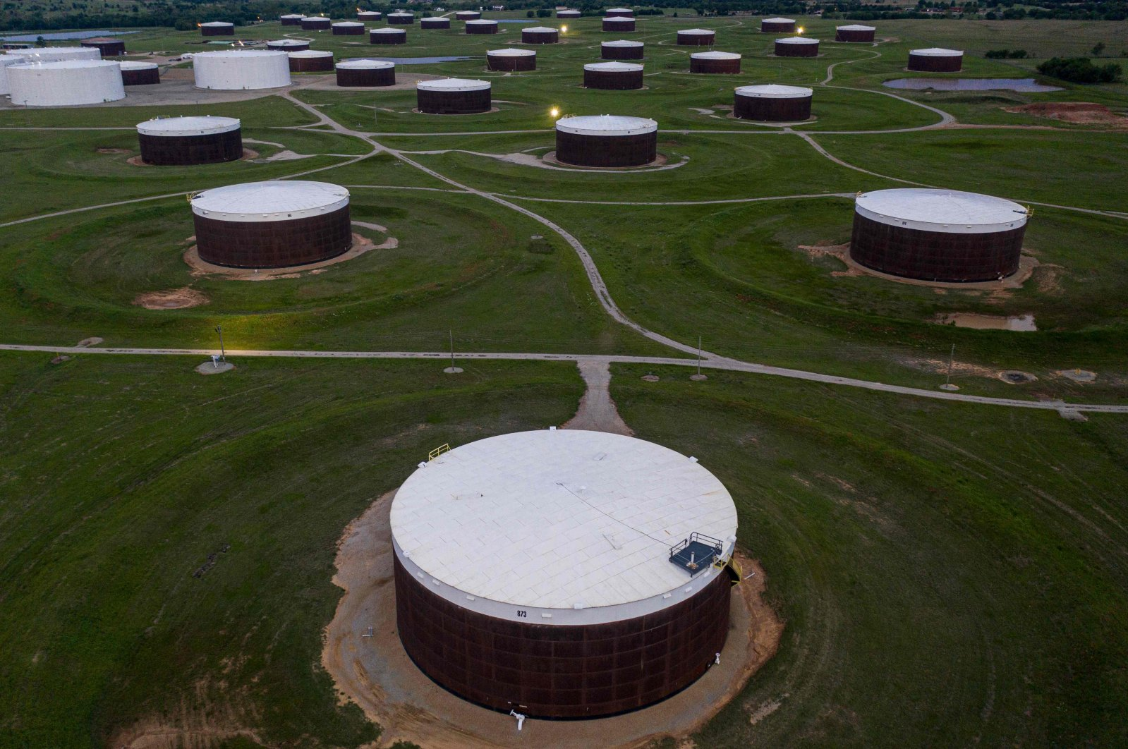 An aerial view of a crude oil storage facility, Cushing, Oklahoma, U.S., May 5, 2020. (AFP Photo)