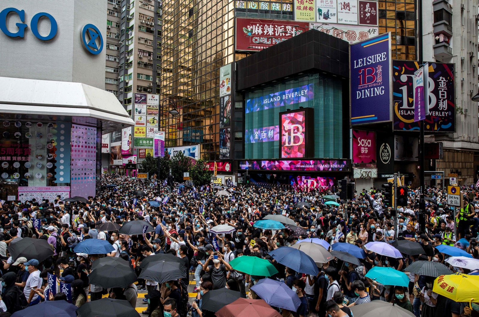 Pro-democracy protesters gather in Causeway Bay district of Hong Kong on May 24, 2020, ahead of planned protests against a proposal to enact new security legislation in Hong Kong. (AFP Photo)