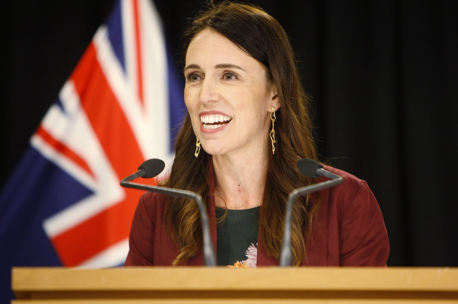 In this Jan. 28, 2020, file photo, New Zealand Prime Minister Jacinda Ardern talks to reporters at Parliament in Wellington, New Zealand. (AP Photo)