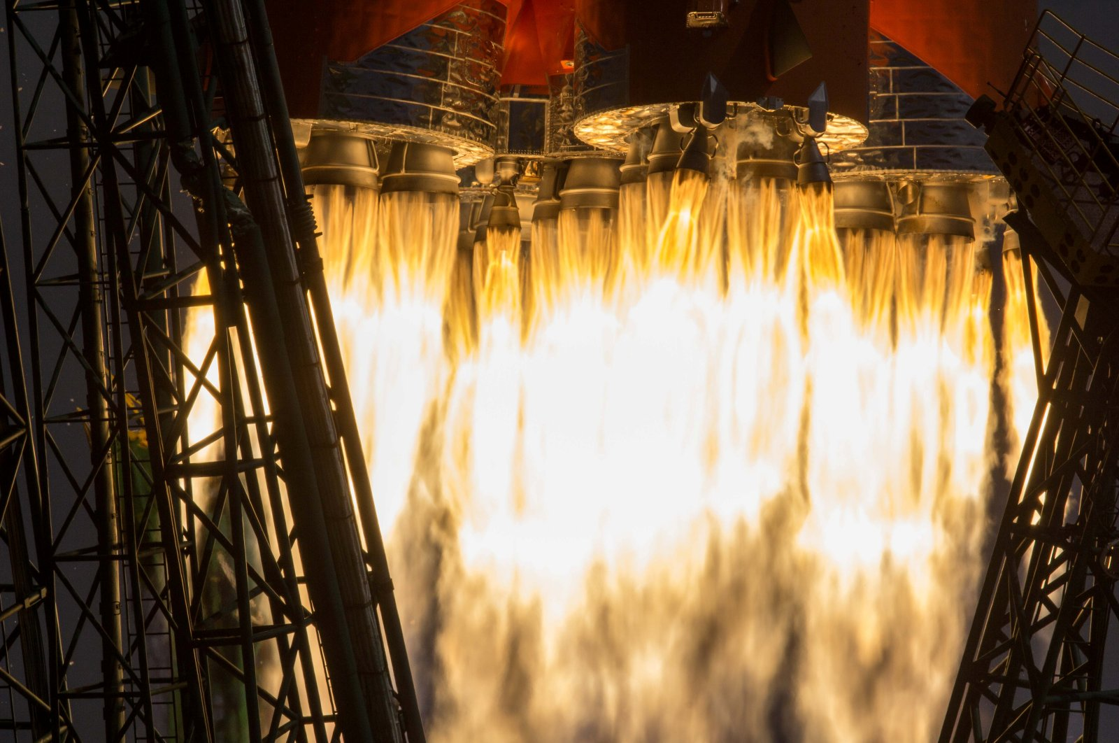The Soyuz MS-16 spacecraft, carrying the crew consisting of Chris Cassidy of NASA, and Anatoly Ivanishin and Ivan Vagner of the Russian space agency Roscosmos, blasts off for the International Space Station (ISS) from the launchpad at the Baikonur Cosmodrome, Kazakhstan, April 9, 2020. (Roscosmos State Corporation for Space Activities handout via Reuters)