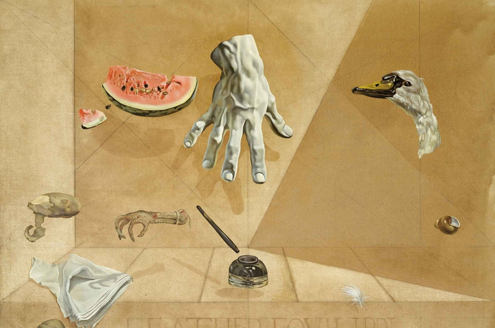 """""""Intra-atomic equilibrium of a swan's feather,"""" 1947, oil on canvas, 77.8-by-96.8 centimeters, Gala-Salvador Dali Foundation. (Photo courtesy of Sakıp Sabancı Museum)"""