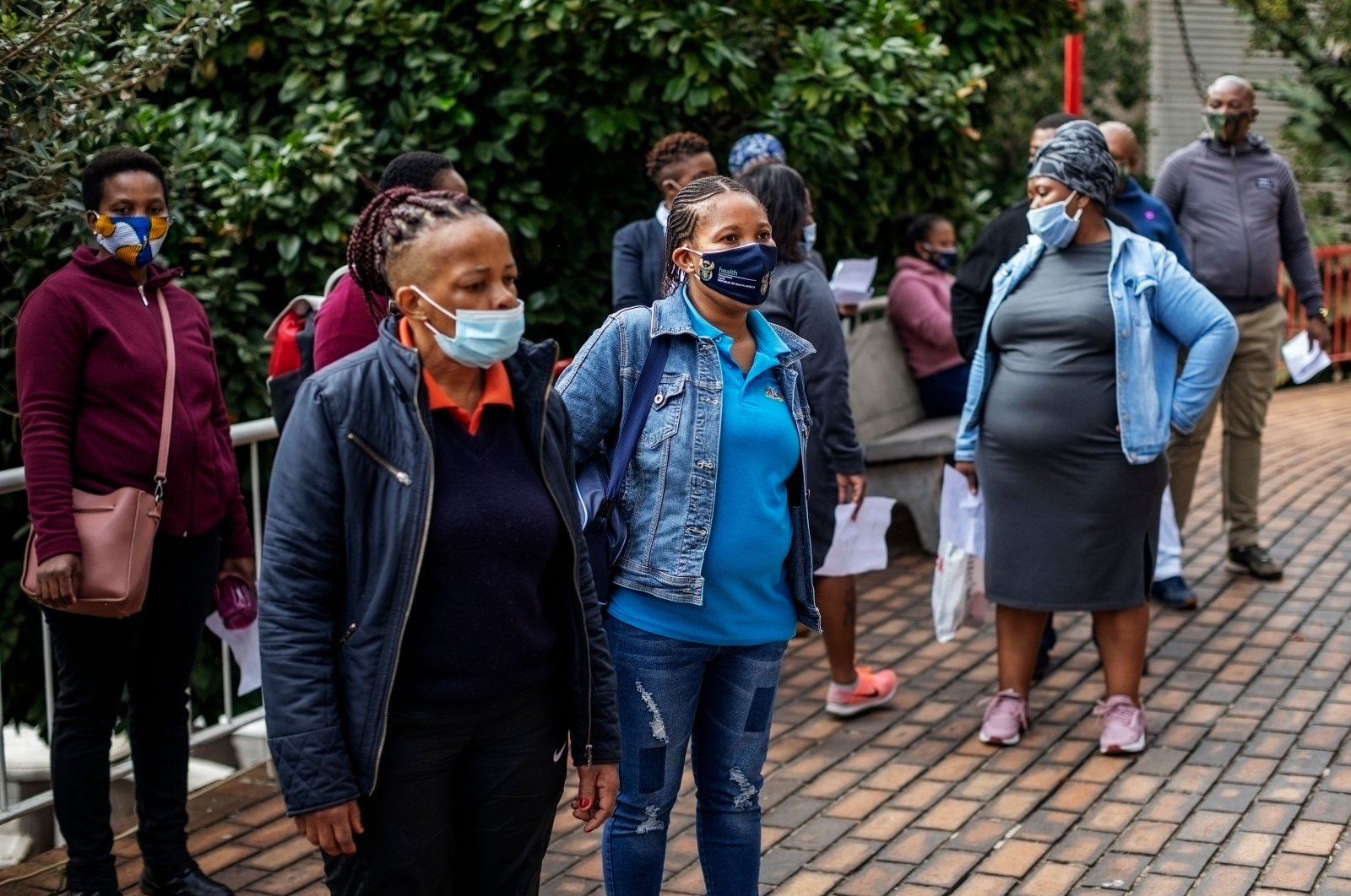 Demonstrators gather during a protest organized by the support staff at Helen Joseph Hospital to urge more testing for COVID-19 and a lack of personal protective equipment, Johannesburg, South Africa, May 25, 2020. (AFP Photo)