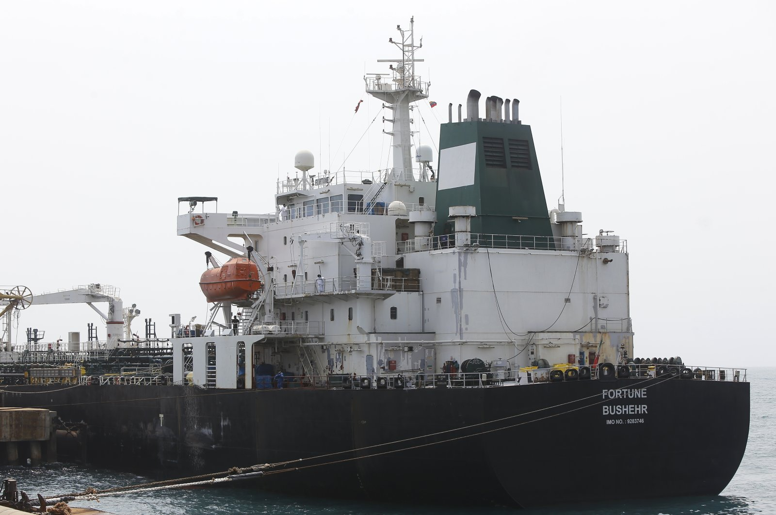 Iranian oil tanker Fortune is anchored at the dock of the El Palito refinery near Puerto Cabello, May 25, 2020. (AP Photo)