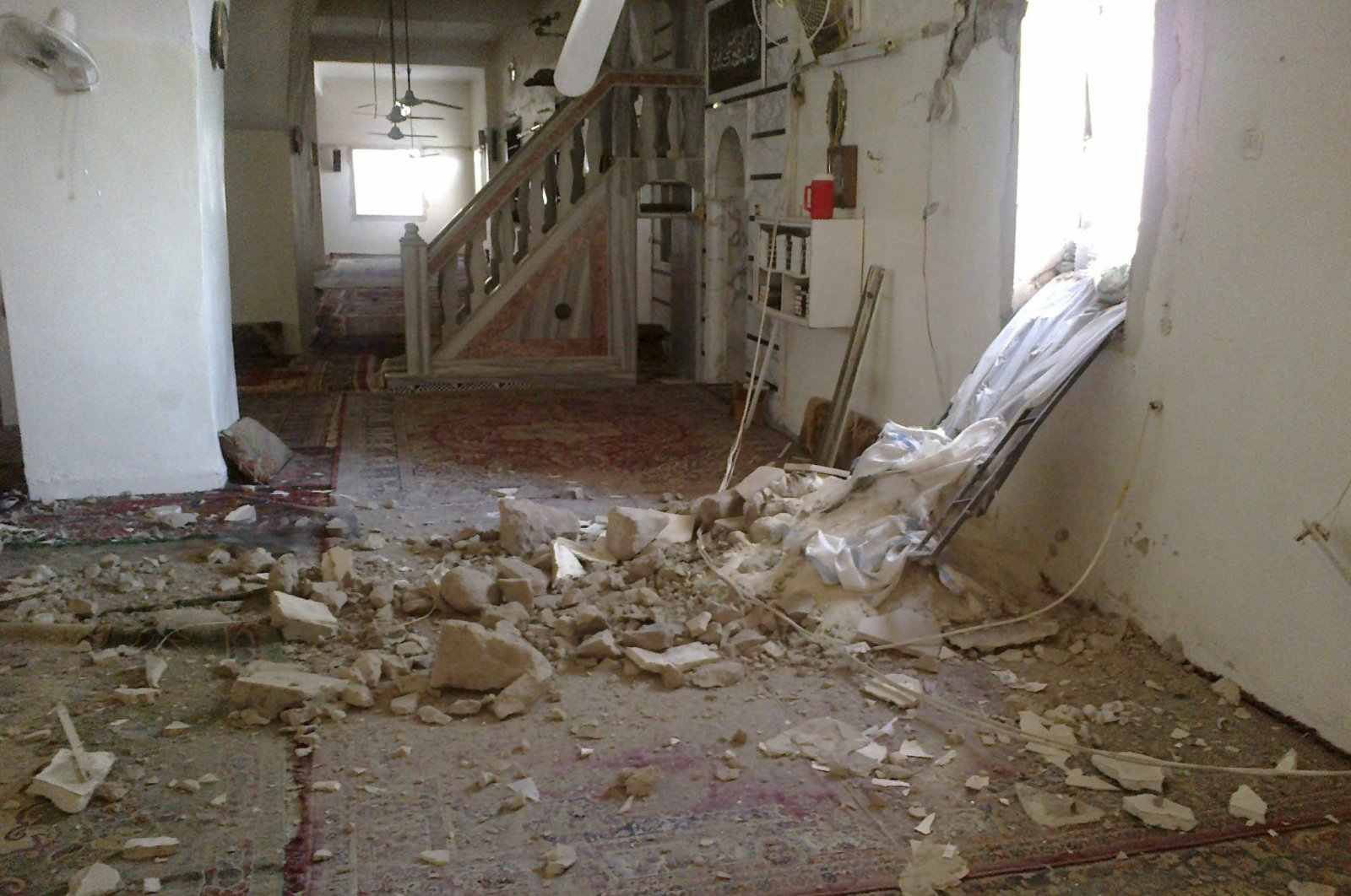 Damaged is seen inside the grand mosque after shelling by Bashar Assad regime's forces at Houla near Homs, Sept. 9, 2012.