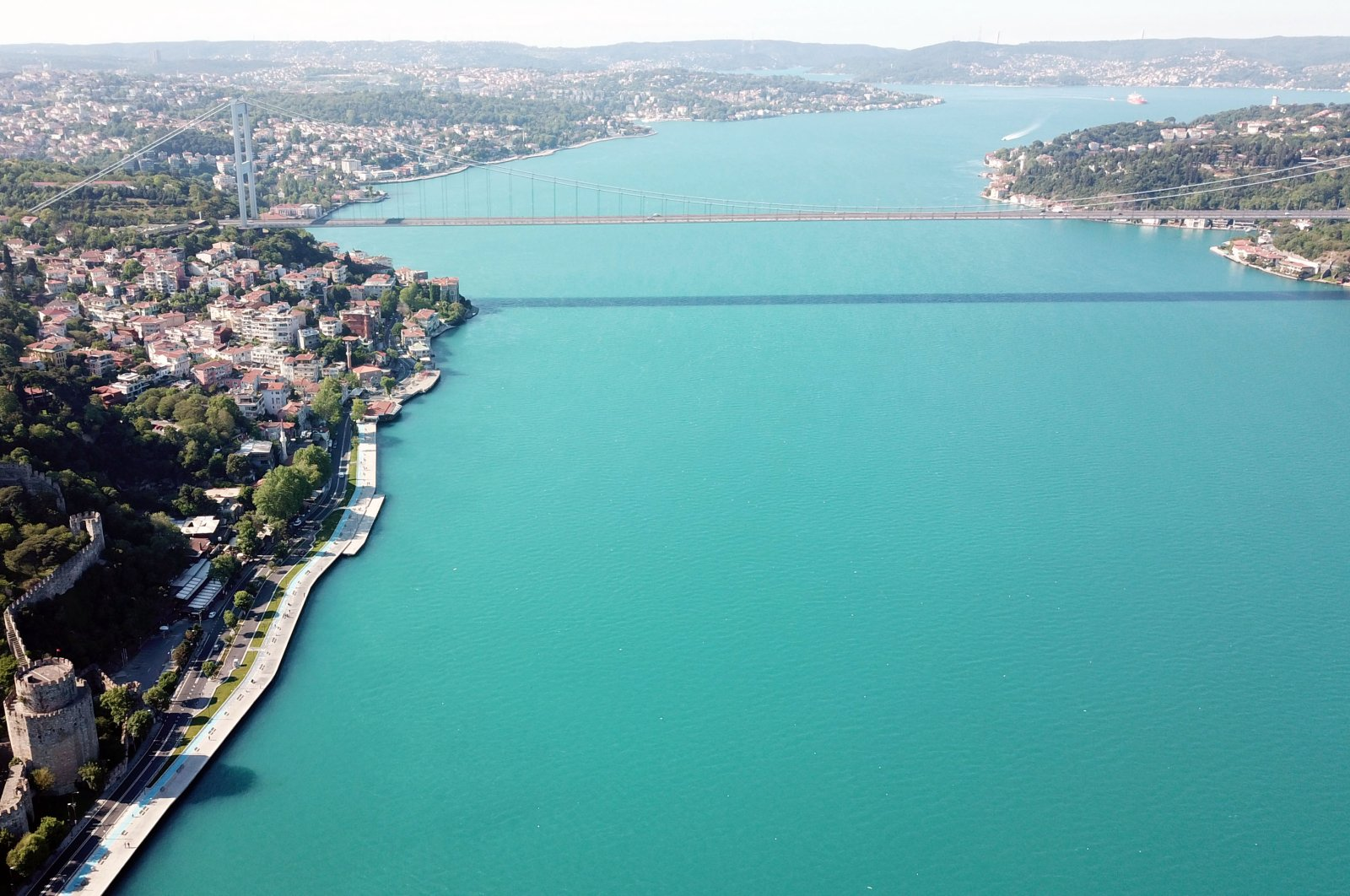 This photo shows Rumeli Hisarı and some houses on the foothills of the Bosporus on the European side of Istanbul, Turkey, May 25, 2020. (DHA Photo)