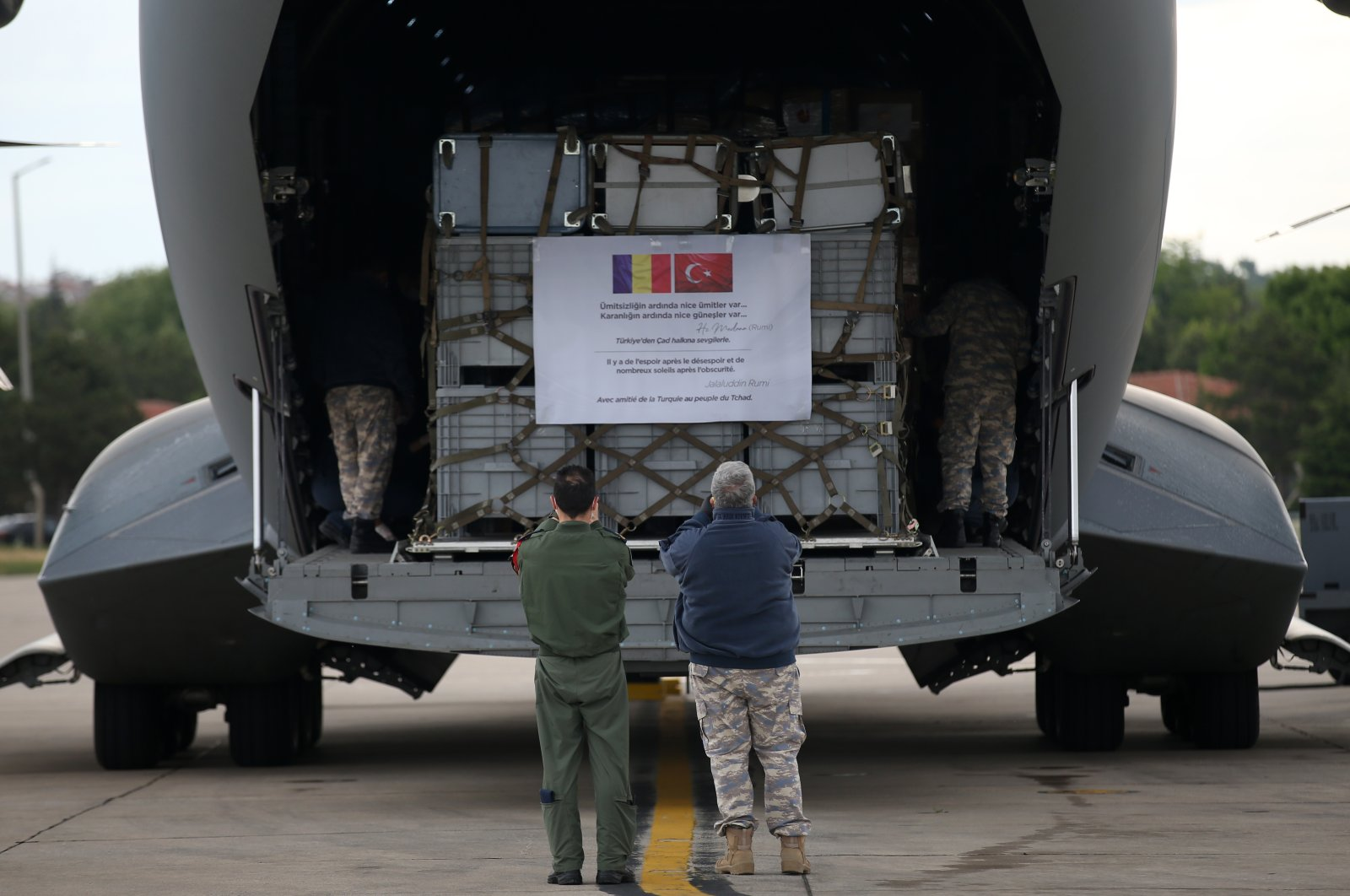 Medical aid destined for Chad is loaded onto a military cargo plane at Etimesgut airport in Ankara, Turkey, May 26, 2020. (AA Photo)