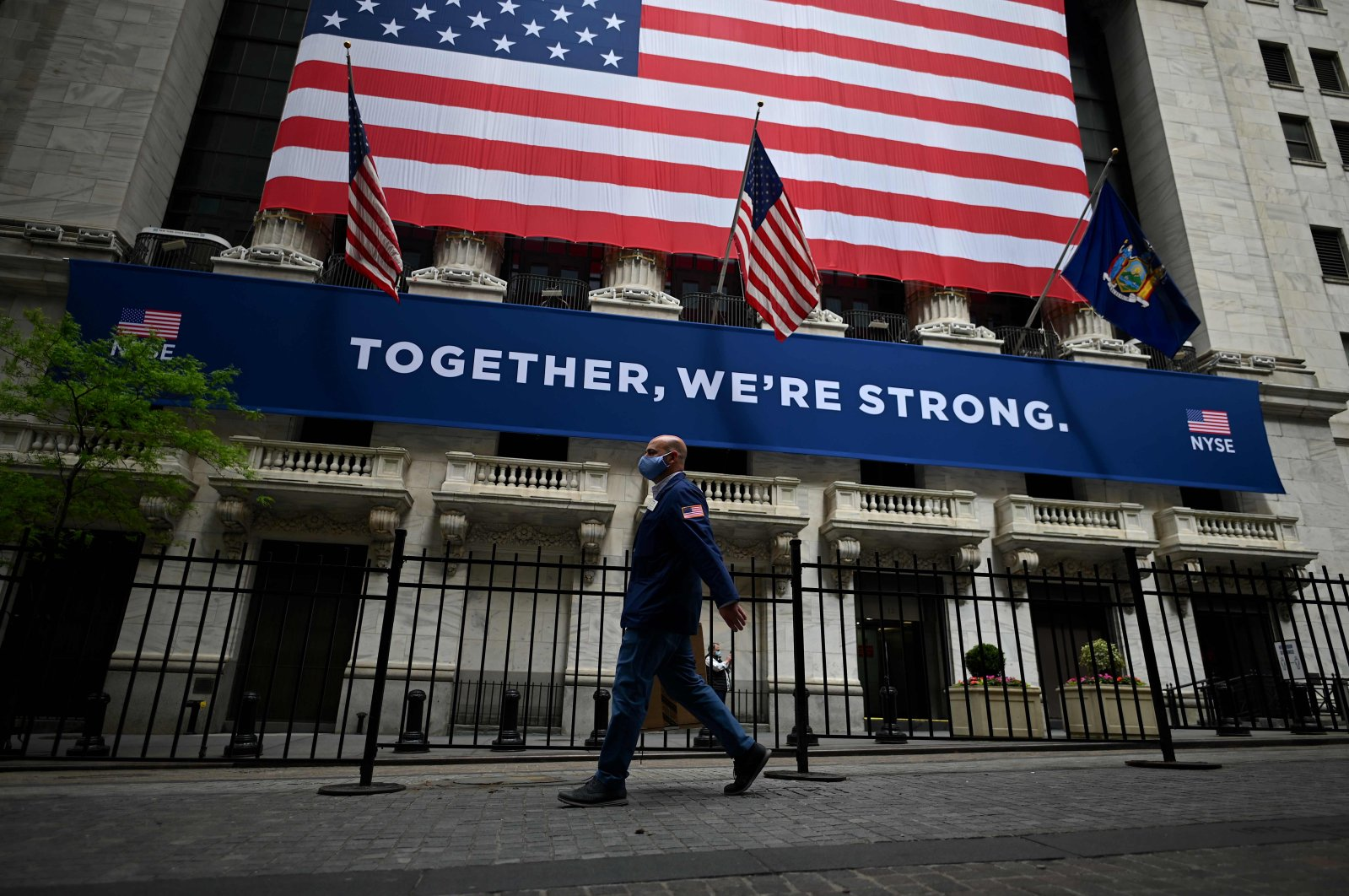 The New York Stock Exchange (NYSE) is pictured on May 26, 2020 at Wall Street in New York City. (AFP Photo)