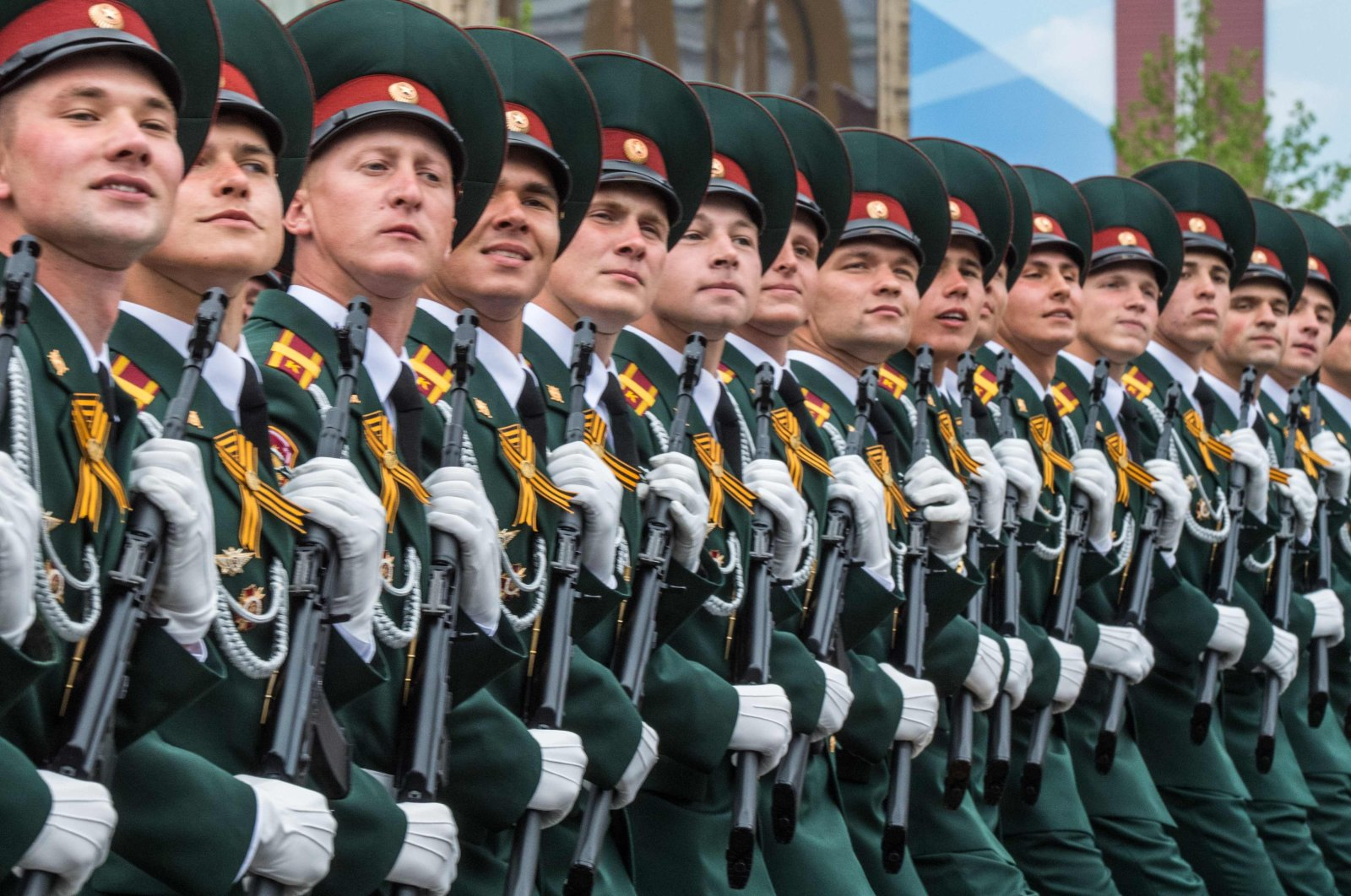 This May 9, 2019, file photo shows soldiers march through Red Square during the Victory Day military parade in downtown Moscow, as Russia celebrates the 74th anniversary of the victory over Nazi Germany. (AFP Photo)
