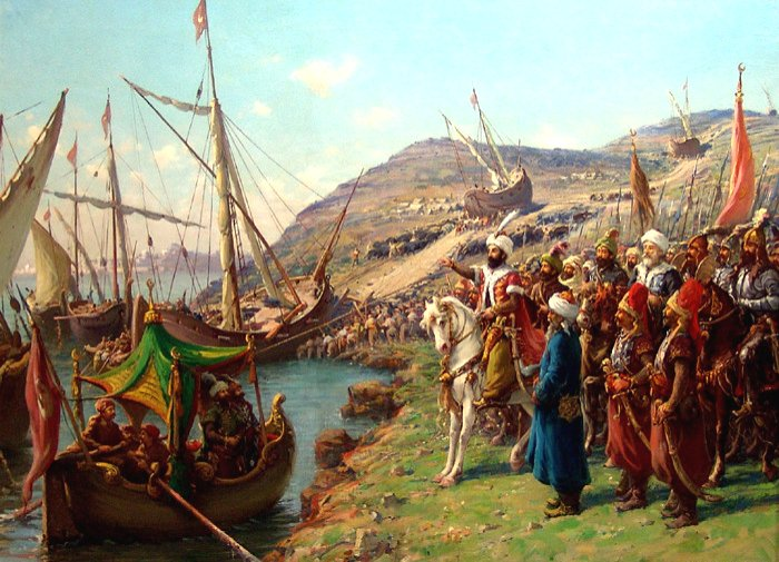 A painting by Fausto Zonaro depicting the Conquest of Istanbul.