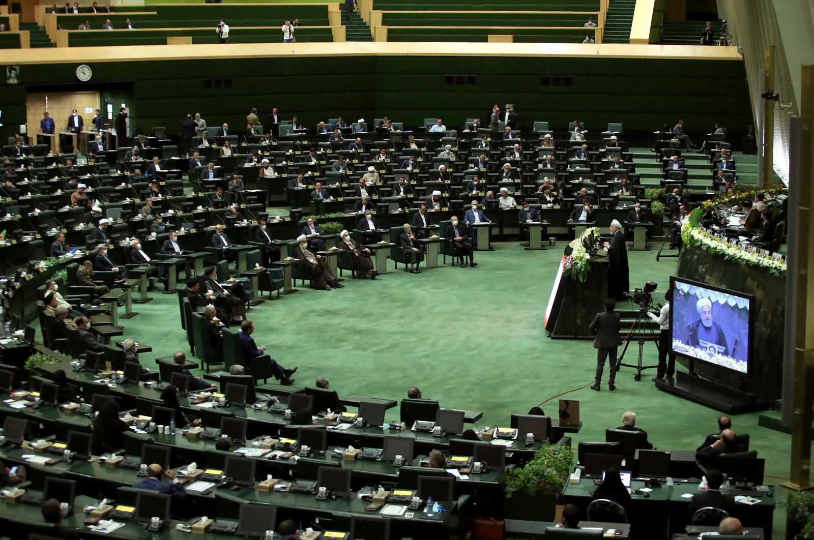 Iranian President Hassan Rouhani speaks during the opening ceremony of Iran's 11th Parliament, as the spread of the coronavirus continues, Tehran, Iran, May 27, 2020. (Reuters Photo)