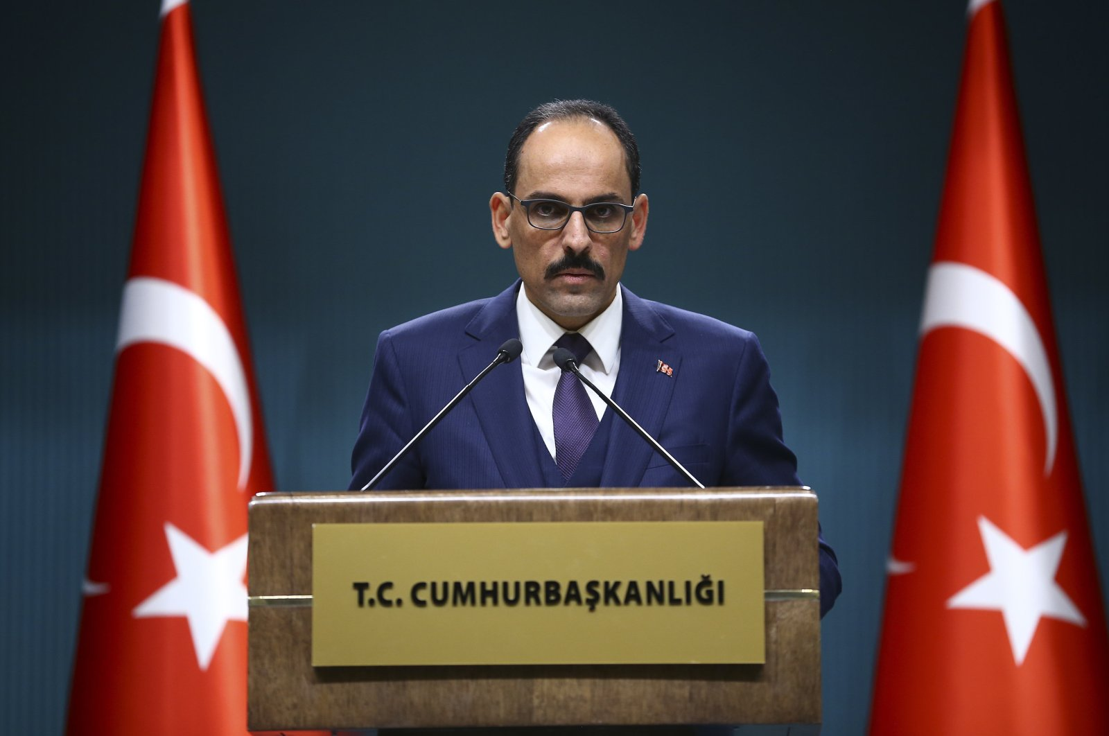 Presidential Spokesman İbrahim Kalın speaks during a press conference, Dec. 12, 2019. (AA Photo)
