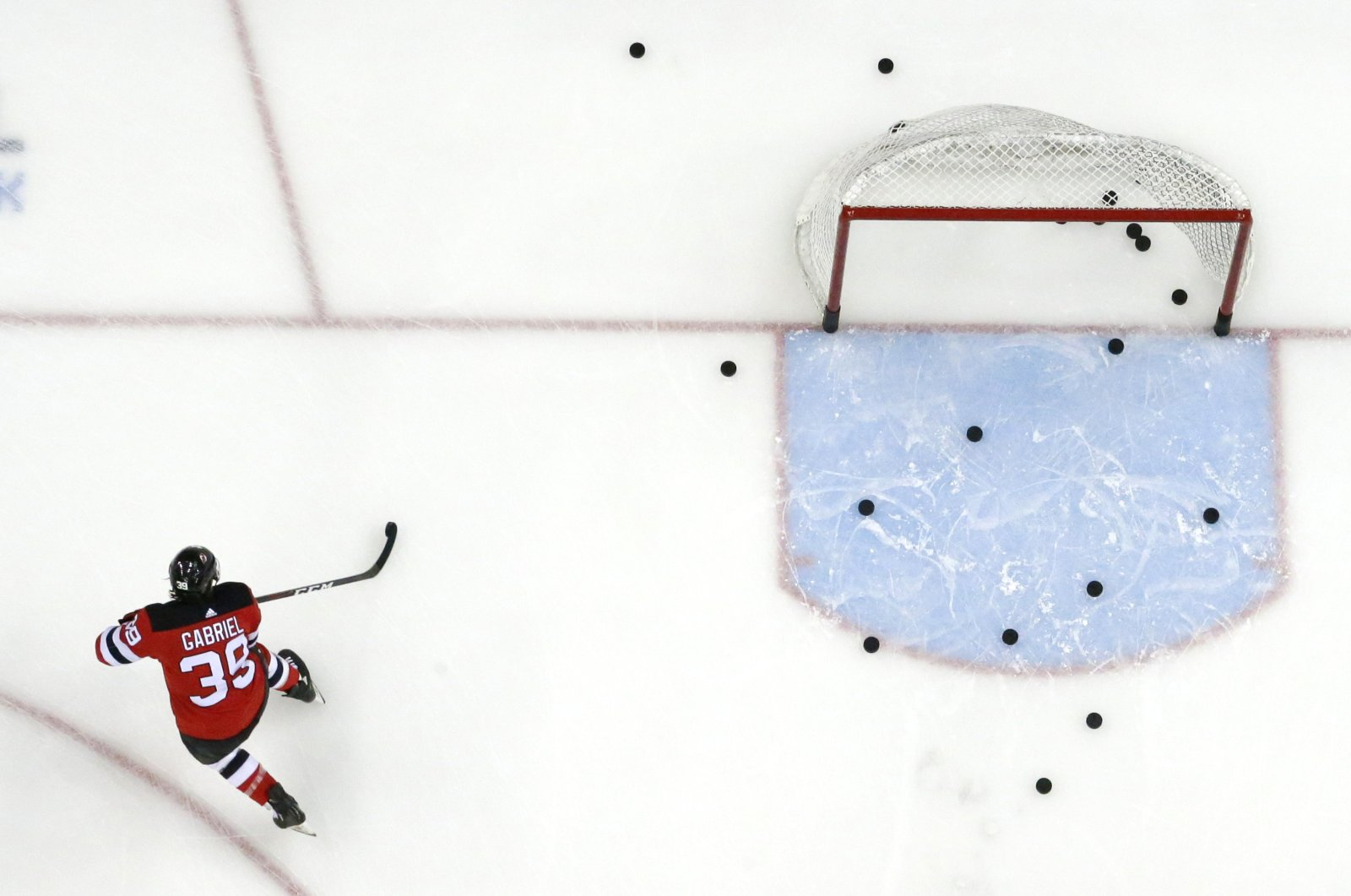 New Jersey Devils right wing Kurtis Gabriel works out prior to an NHL hockey game against the Buffalo Sabres in Newark, N.J., U.S., Feb. 17, 2019. (AP Photo)