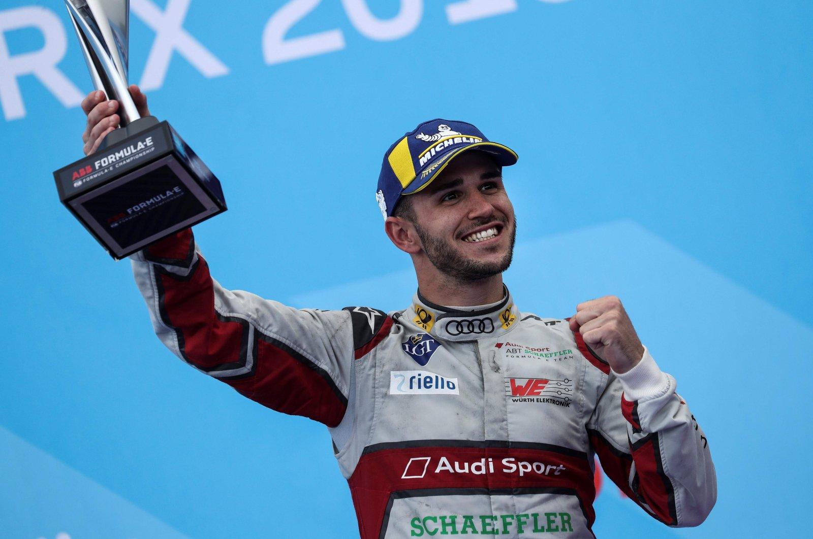 Daniel Abt celebrates after a Formula E race in Paris, France, April 27, 2019. (AFP Photo)