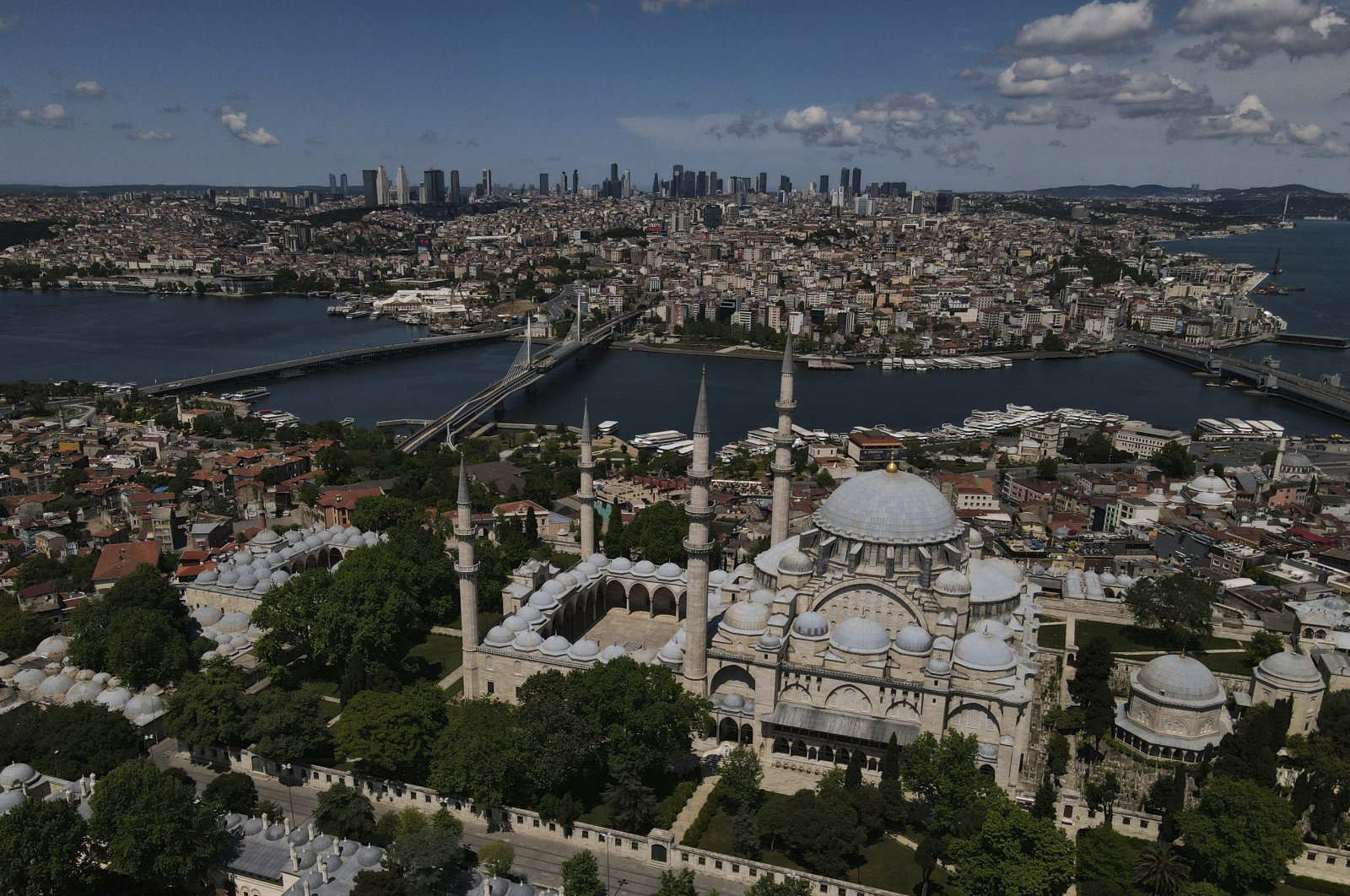 An aerial view of the historical district of Istanbul during the last day of a four-day curfew due to the coronavirus outbreak, Turkey, May 26, 2020. (AP Photo)