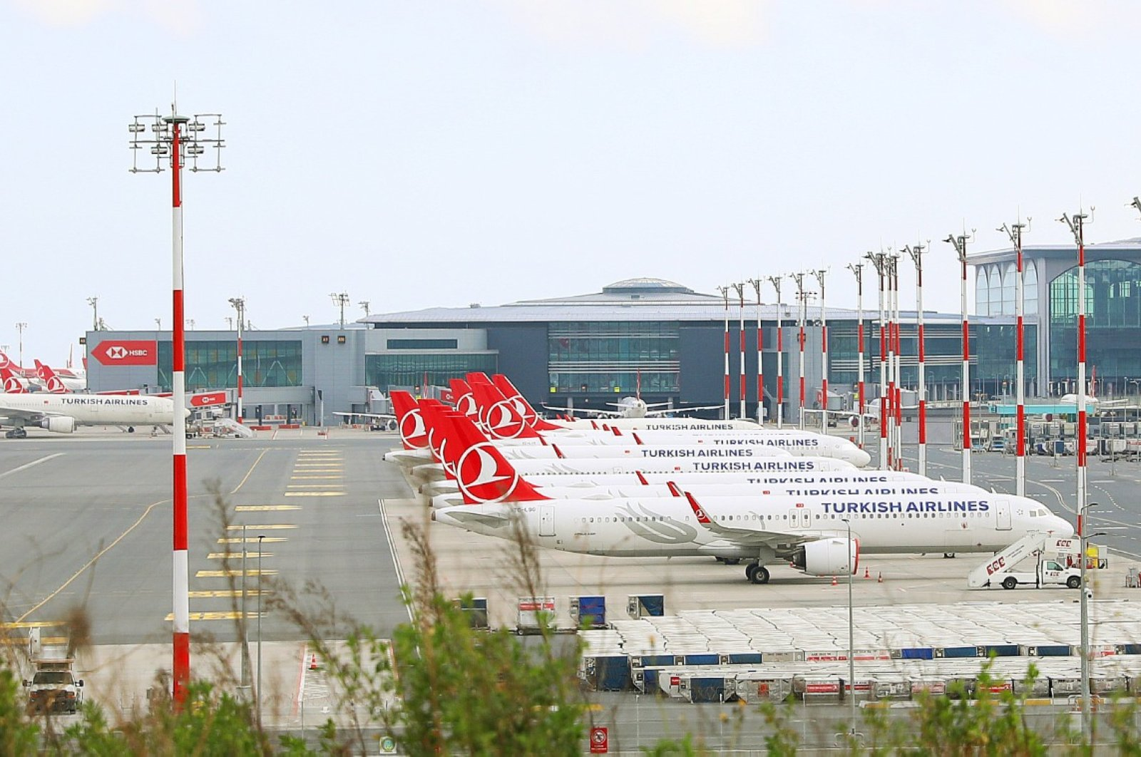 Turkish Airline planes sit on the tarmac at Istanbul Airport during the coronavirus outbreak, Istanbul, May 24, 2020. (AA Photo)