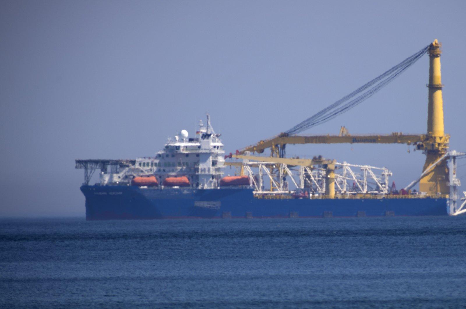 "Russian pipe layer vessel ""Akademik Cherskiy"" is at anchor in Binz, island Ruegen, northern Germany, May 10, 2020. (EPA Photo)"