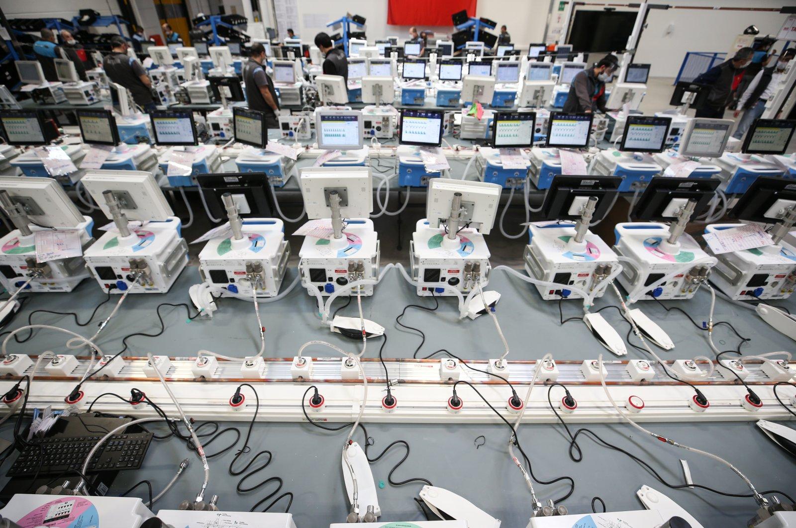 Turkish ventilators are seen in production at an Arçelik factory in Çerkezköy district, Tekirdağ province, Turkey, April 12, 2020. (AA Photo)