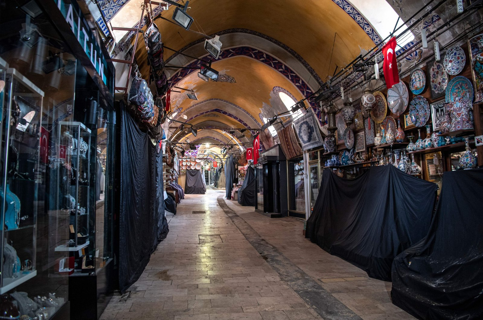 A deserted street of the iconic Grand Bazaar seen during the COVID-19 pandemic, in Istanbul, Turkey, May 20, 2020. (AFP Photo)