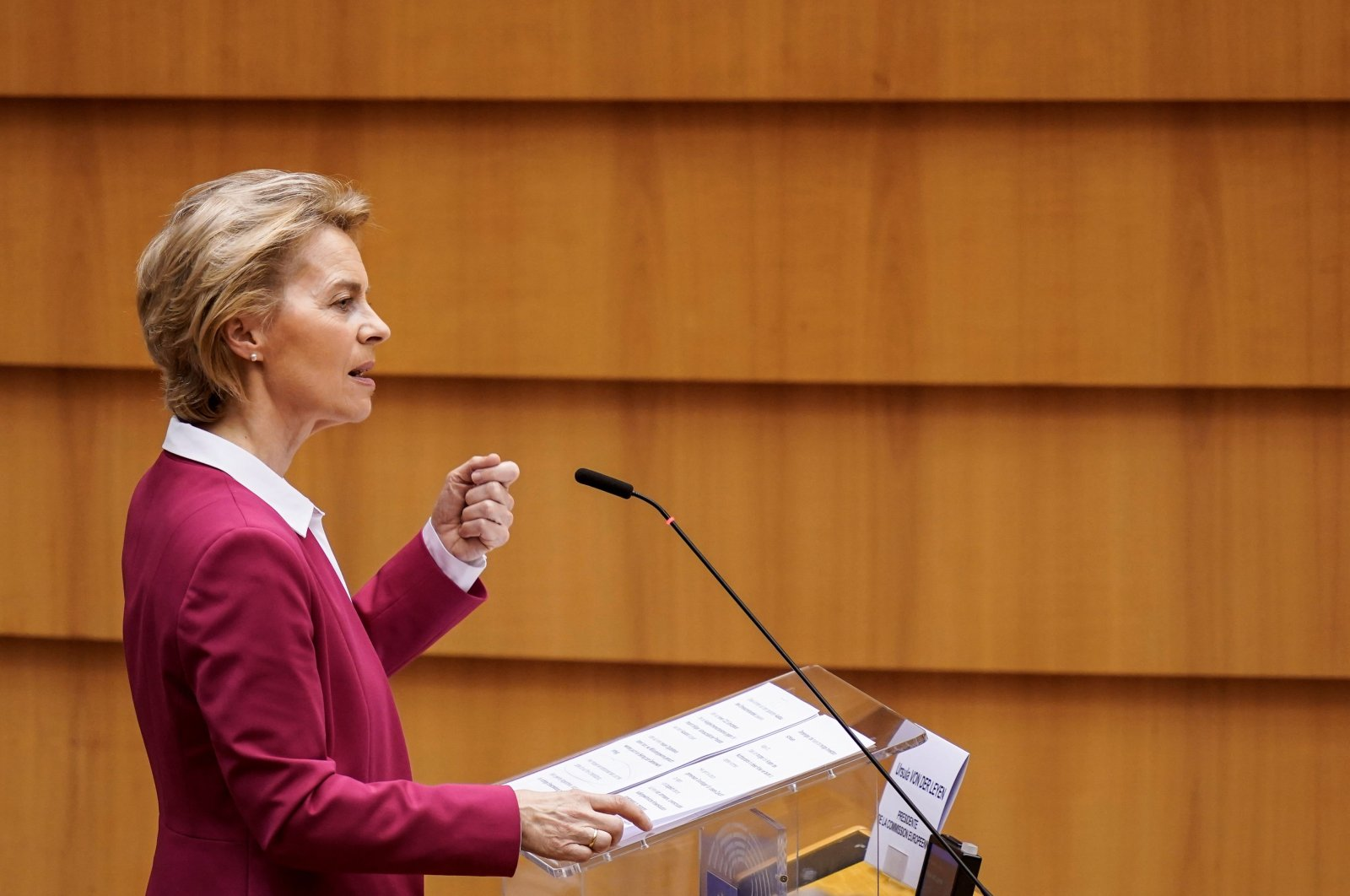 European Commission President Ursula von der Leyen speaks during a plenary session of the European Parliament, Brussels, May 27, 2020. (AFP Photo)