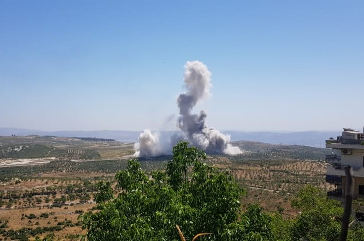 An explosion along the M4 highway killed a Turkish soldier in Idlib, May 27, 2020. (IHA Photo)
