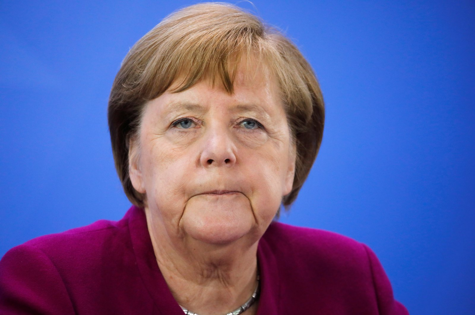 German Chancellor Angela Merkel briefs the media after a meeting with German federal state governors at the Chancellery in Berlin, Germany, May 27, 2020. REUTERS