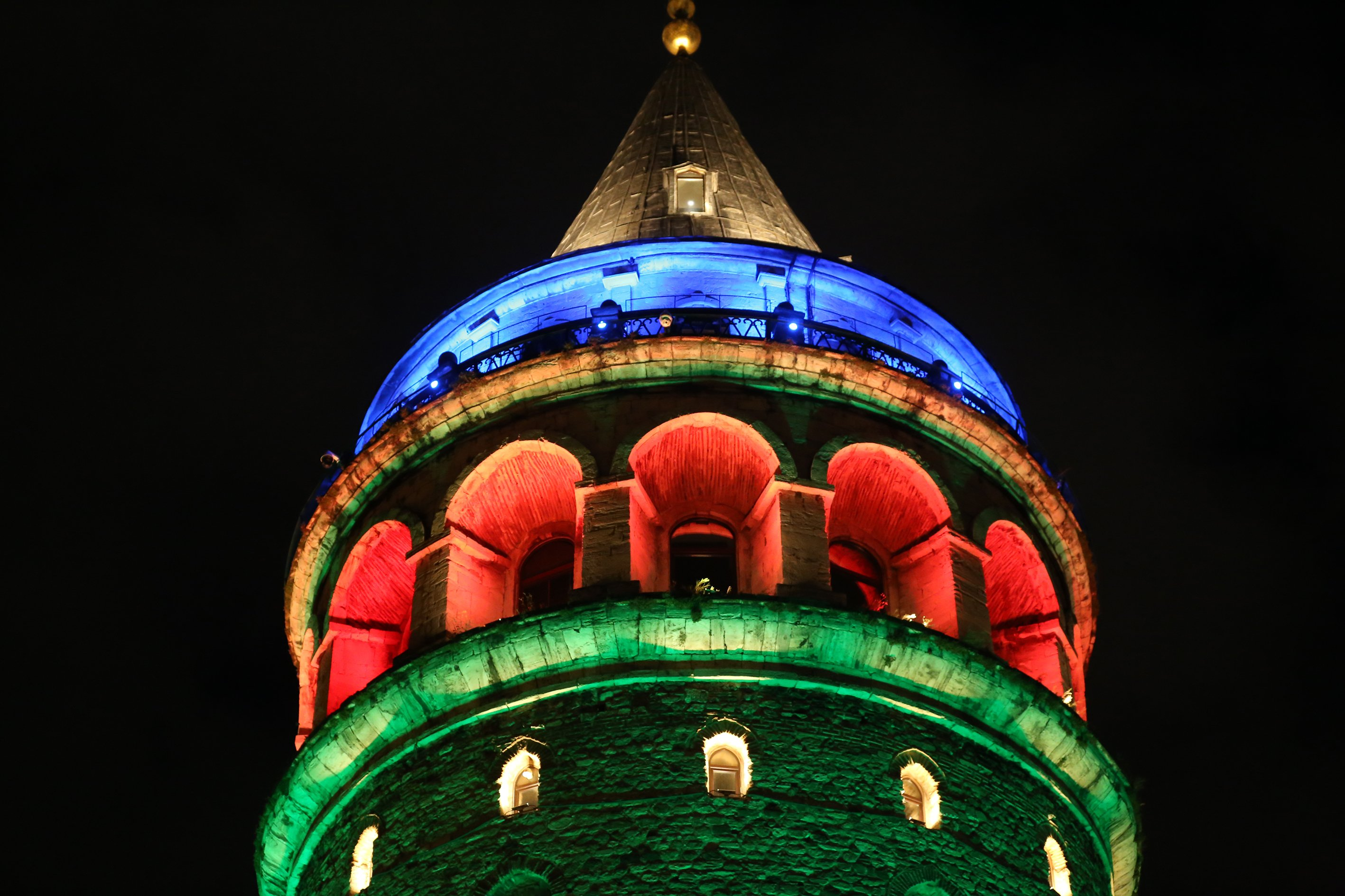 Istanbul's Galata Tower was also lit in colors of the Azerbaijani flag (AA Photo)