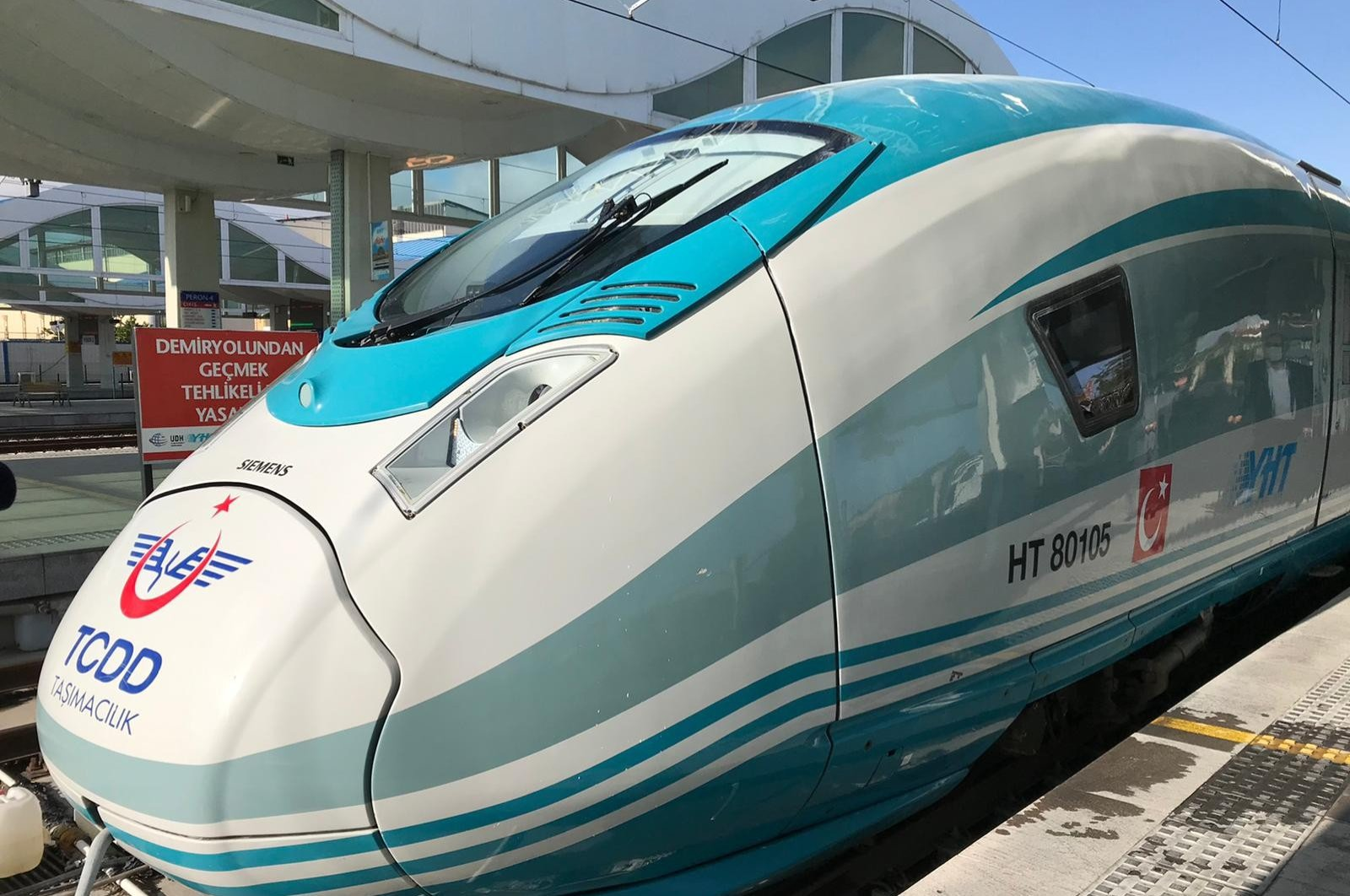 A high-speed train is seen ahead of departure at a train station in Eskişehir, Turkey, May 28, 2020. (IHA Photo)