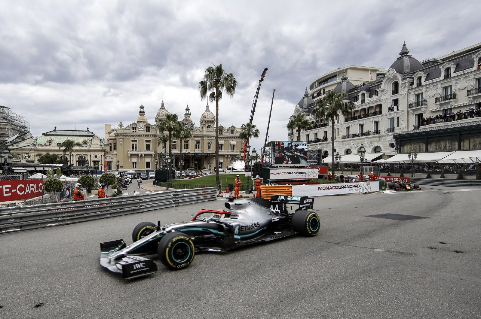 Mercedes' Lewis Hamilton steers his car during the Monaco Grand Prix race, in Monaco, May 26, 2019. (AP Photo)