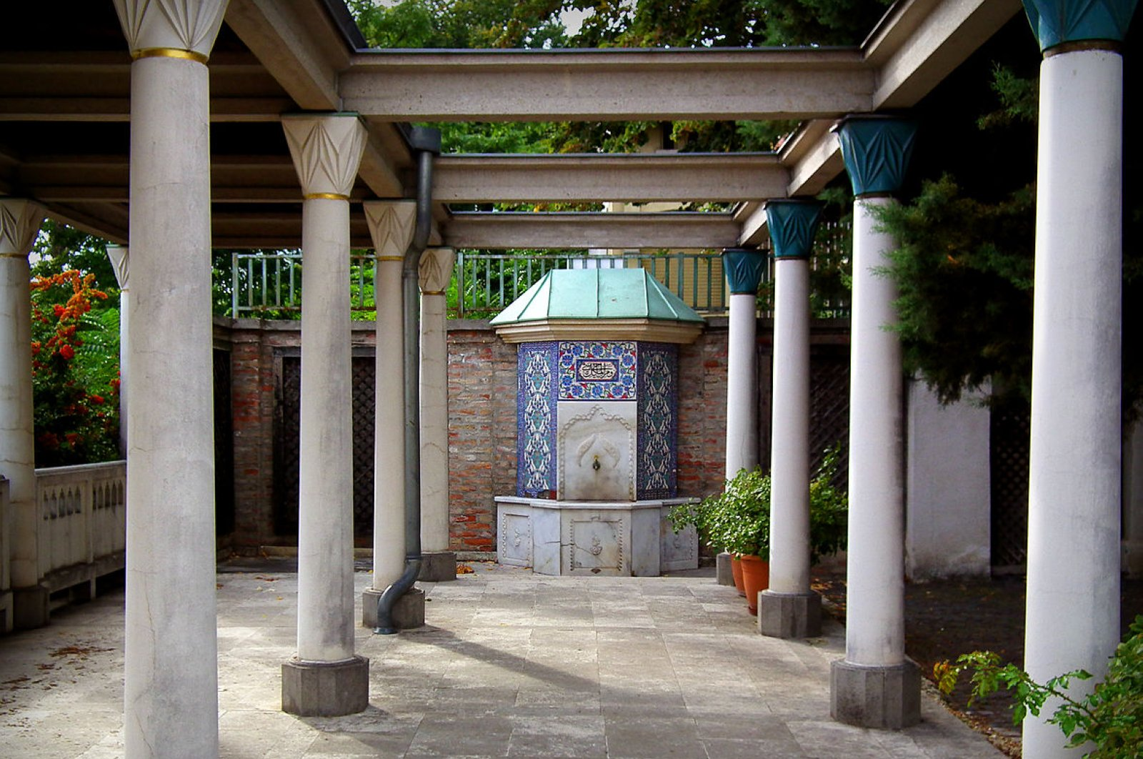 A fountain in the garden of the Tomb of Gül Baba, Budapest, Hungary.