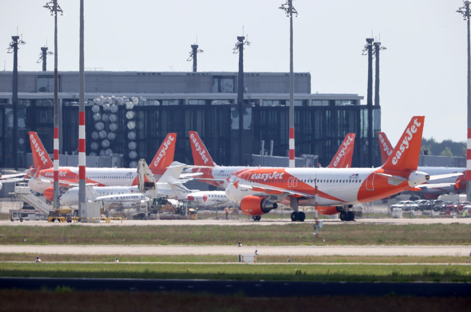 EasyJet planes are seen at the Berlin Schoenefeld airport, amid the spread of the coronavirus, Schoenefeld, Germany, May 26, 2020. (Reuters Photo)