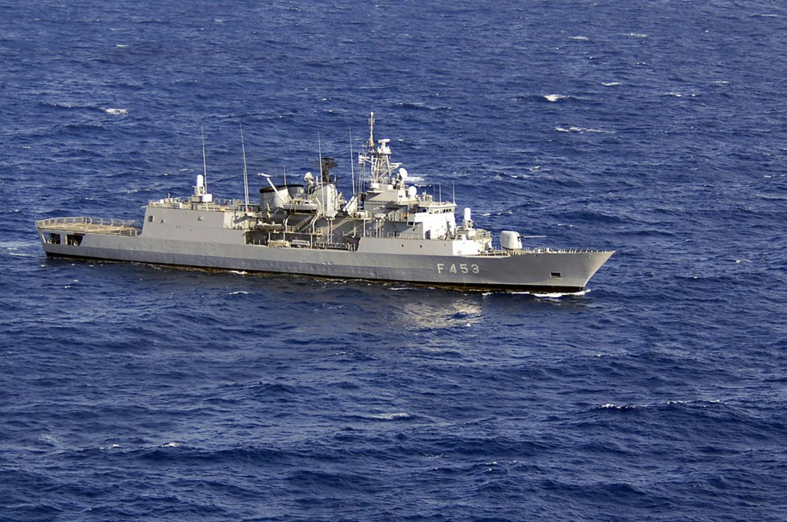 The Greek frigate HS Spetsai transits the Mediterranean Sea during the Phoenix Express naval exercise in April 2008. (Photo from Wikipedia)